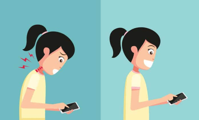 Proper Neck Position While Using Phone To Reduce Neck Pain